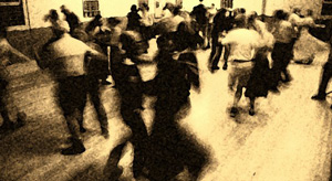 Danceers at an                     O'Shanigans' contra dance in Ithaca NY